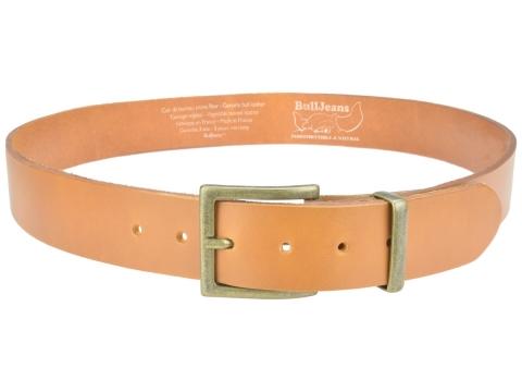 BULLJEANS N°11 | Ceinturon en cuir couleur camel Homme boucle carrée finition laiton
