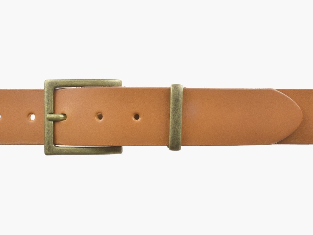 BULLJEANS N°11 | Ceinturon en cuir couleur camel Homme boucle carrée finition laiton 2