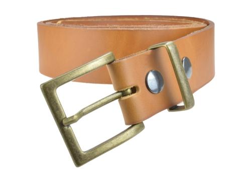BULLJEANS N°11 | Ceinturon en cuir couleur camel Homme boucle carrée finition laiton 3