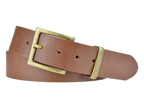 BULLJEANS N°11 | Ceinturon en cuir couleur chataigne Homme boucle carrée finition laiton 4