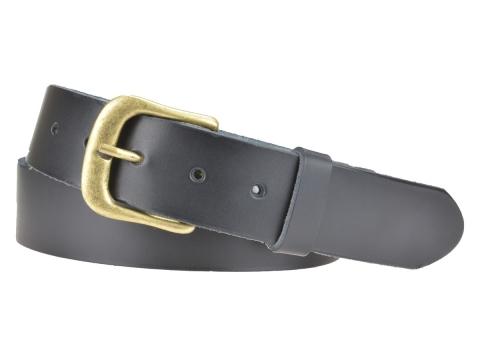 BULLJEANS N°12 | Ceinturon Homme couleur noir boucle arrondie fine finition laiton 4