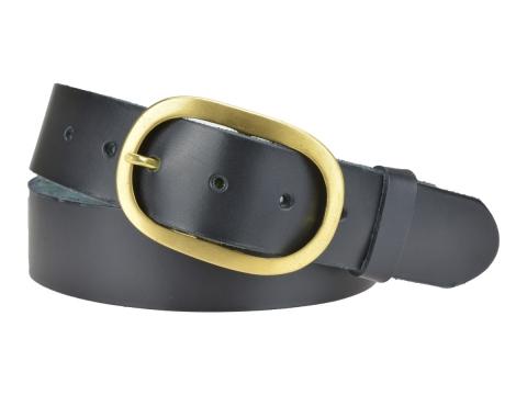 BULLJEANS N°14   Ceinturon cuir couleur noir Homme boucle ovale en laiton 4