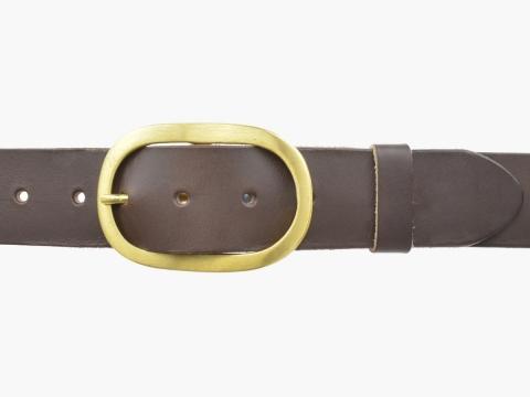 BULLJEANS N°14 | Ceinturon cuir couleur marron Homme boucle ovale en laiton 2