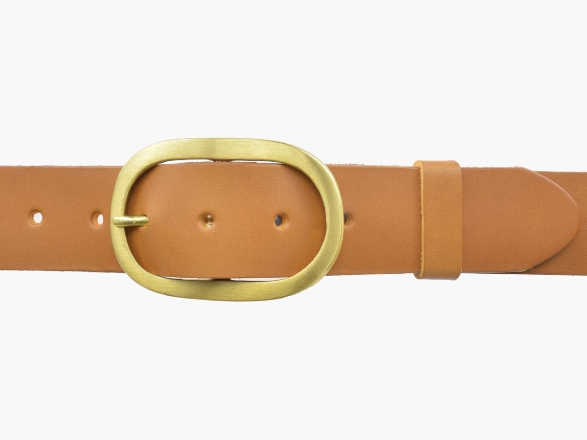 BULLJEANS N°14   Ceinturon cuir couleur camel Homme boucle ovale en laiton 2