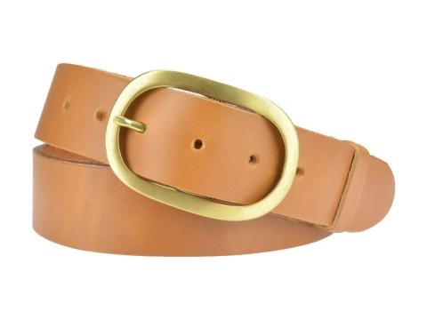 BULLJEANS N°14   Ceinturon cuir couleur camel Homme boucle ovale en laiton 5