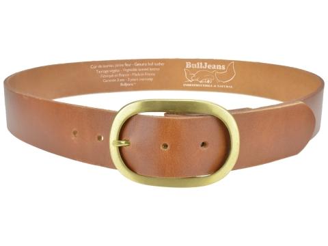 BULLJEANS N°14 | Ceinturon cuir couleur cognac Homme boucle ovale en laiton