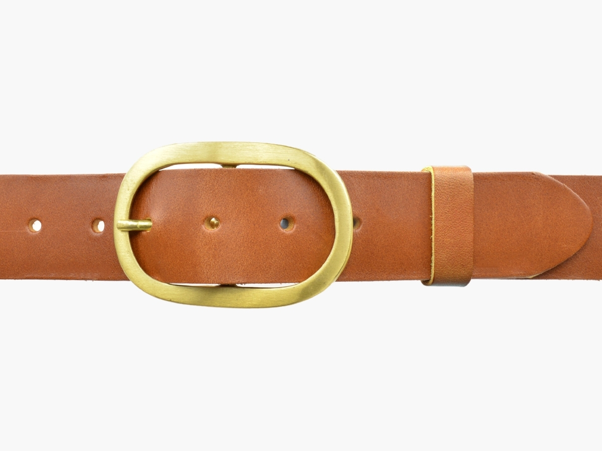 BULLJEANS N°14 | Ceinturon cuir couleur cognac Homme boucle ovale en laiton 2