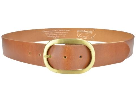 BULLJEANS N°14 | Ceinturon cuir couleur cognac Homme boucle ovale en laiton 4