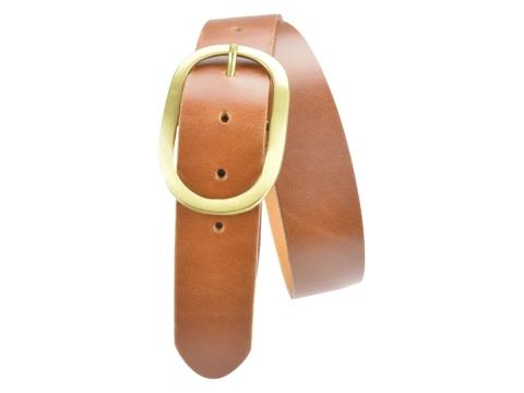 BULLJEANS N°14 | Ceinturon cuir couleur cognac Homme boucle ovale en laiton 5