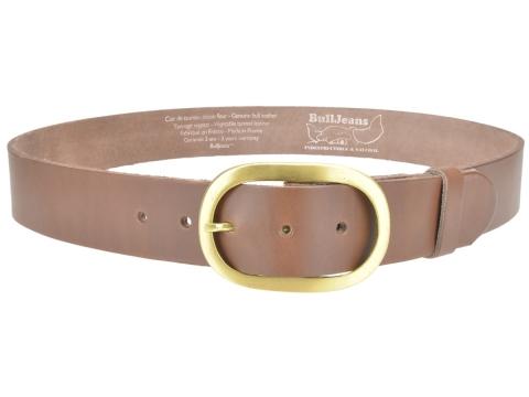BULLJEANS N°14 | Ceinturon cuir couleur chataigne Homme boucle ovale en laiton