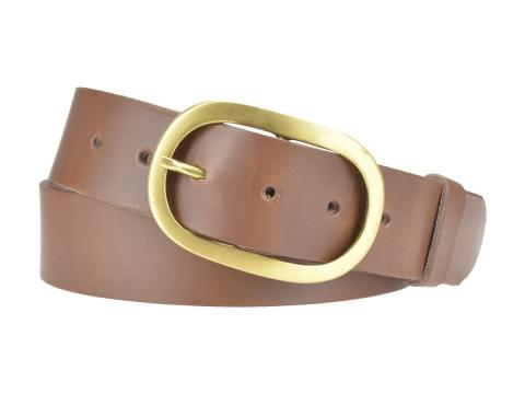 BULLJEANS N°14 | Ceinturon cuir couleur chataigne Homme boucle ovale en laiton 5