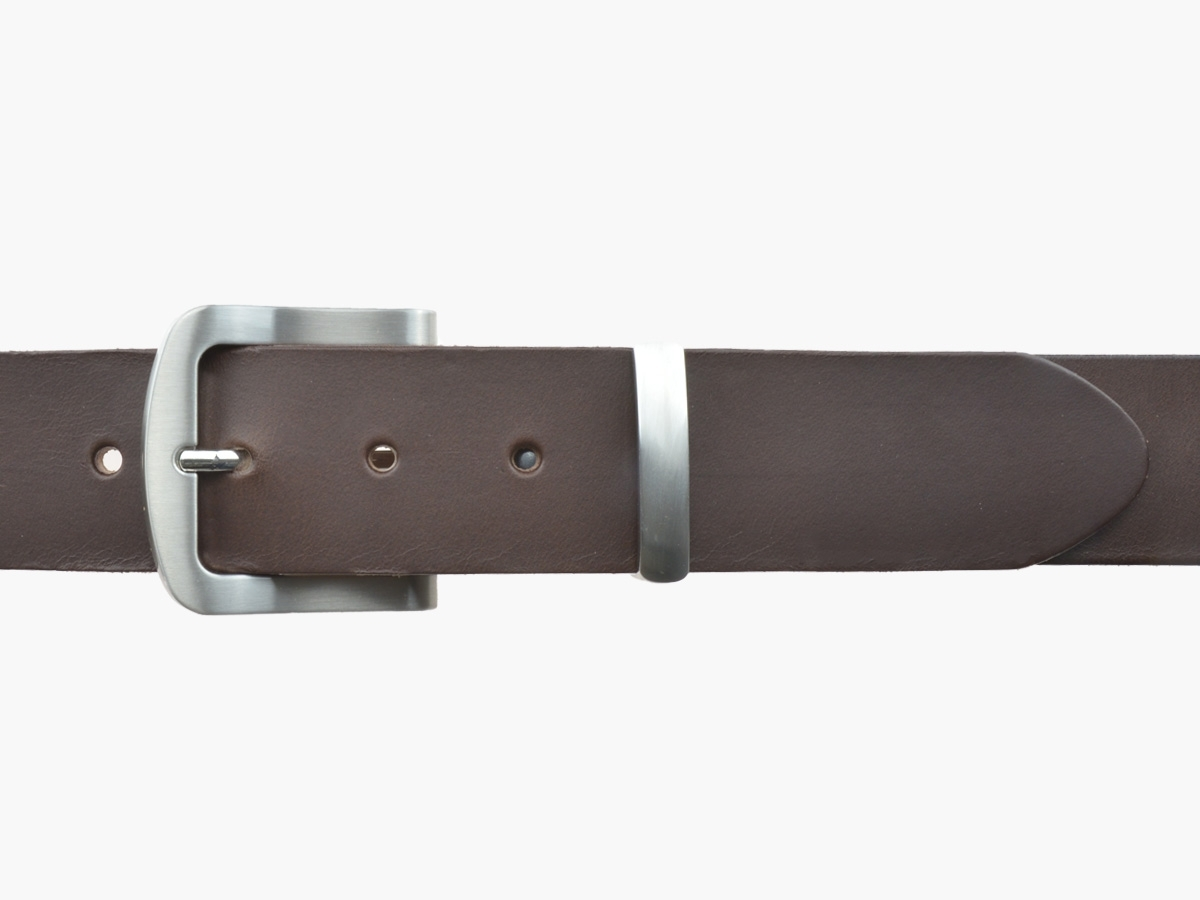 BULLJEANS N°15 | Ceinturon police style en cuir marron boucle brossée 1