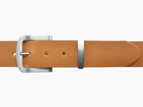 BULLJEANS N°15 | Ceinturon police style en cuir couleur camel boucle brossée