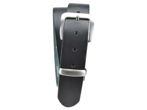 BULLJEANS N°16   Ceinturon en cuir de couleur noir boucle sobre finition metal brossé