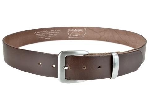 BULLJEANS N°16 | Ceinturon en cuir de couleur marron boucle sobre finition metal brossé