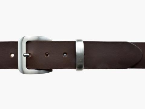 BULLJEANS N°16 | Ceinturon en cuir de couleur marron boucle sobre finition metal brossé 2