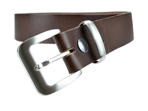 BULLJEANS N°16 | Ceinturon en cuir de couleur marron boucle sobre finition metal brossé 4