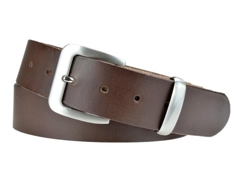 BULLJEANS N°16 | Ceinturon en cuir de couleur marron boucle sobre finition metal brossé 5