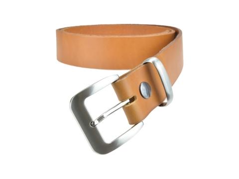 BULLJEANS N°16 | Ceinturon en cuir de couleur camel boucle sobre finition metal brossé 3