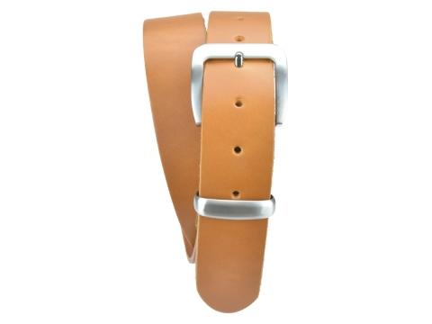 BULLJEANS N°16 | Ceinturon en cuir de couleur camel boucle sobre finition metal brossé 4