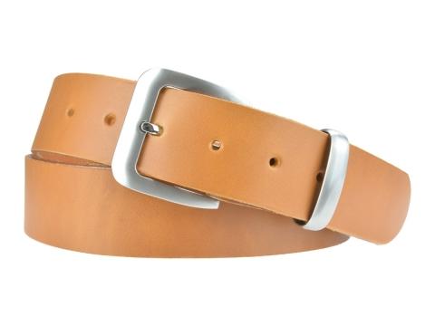 BULLJEANS N°16 | Ceinturon en cuir de couleur camel boucle sobre finition metal brossé 5