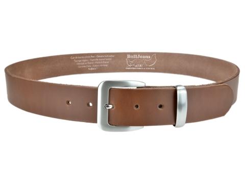 BULLJEANS N°16 | Ceinturon en cuir couleur chataigne boucle sobre metal brossé