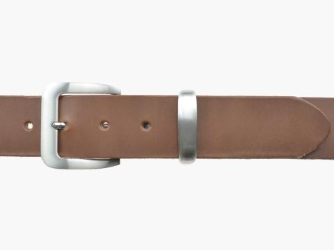BULLJEANS N°16 | Ceinturon en cuir couleur chataigne boucle sobre metal brossé 2