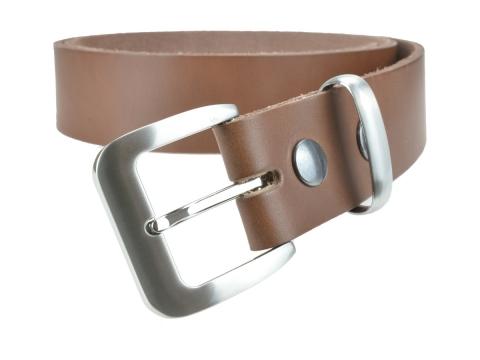BULLJEANS N°16 | Ceinturon en cuir couleur chataigne boucle sobre metal brossé 4