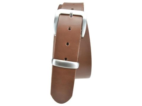 BULLJEANS N°16   Ceinturon en cuir couleur chataigne boucle sobre metal brossé 5