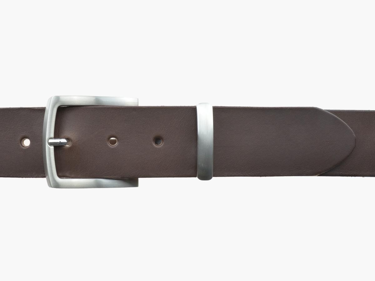 BULLJEANS N°17 | Ceinturon en cuir marron boucle sobre et fine finition brossée