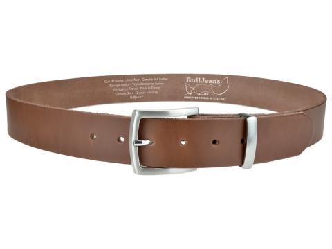 BULLJEANS N°17 | Ceinturon en cuir couleur chataigne boucle sobre et fine finition brossée 4