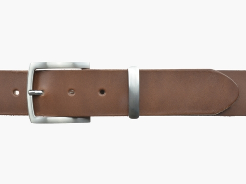 BULLJEANS N°17 | Ceinturon en cuir couleur chataigne boucle sobre et fine finition brossée 5