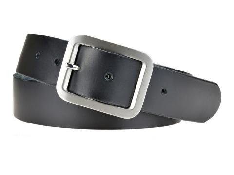 BULLJEANS N°18   Ceinturon cuir couleur noir boucle rectangle brossée
