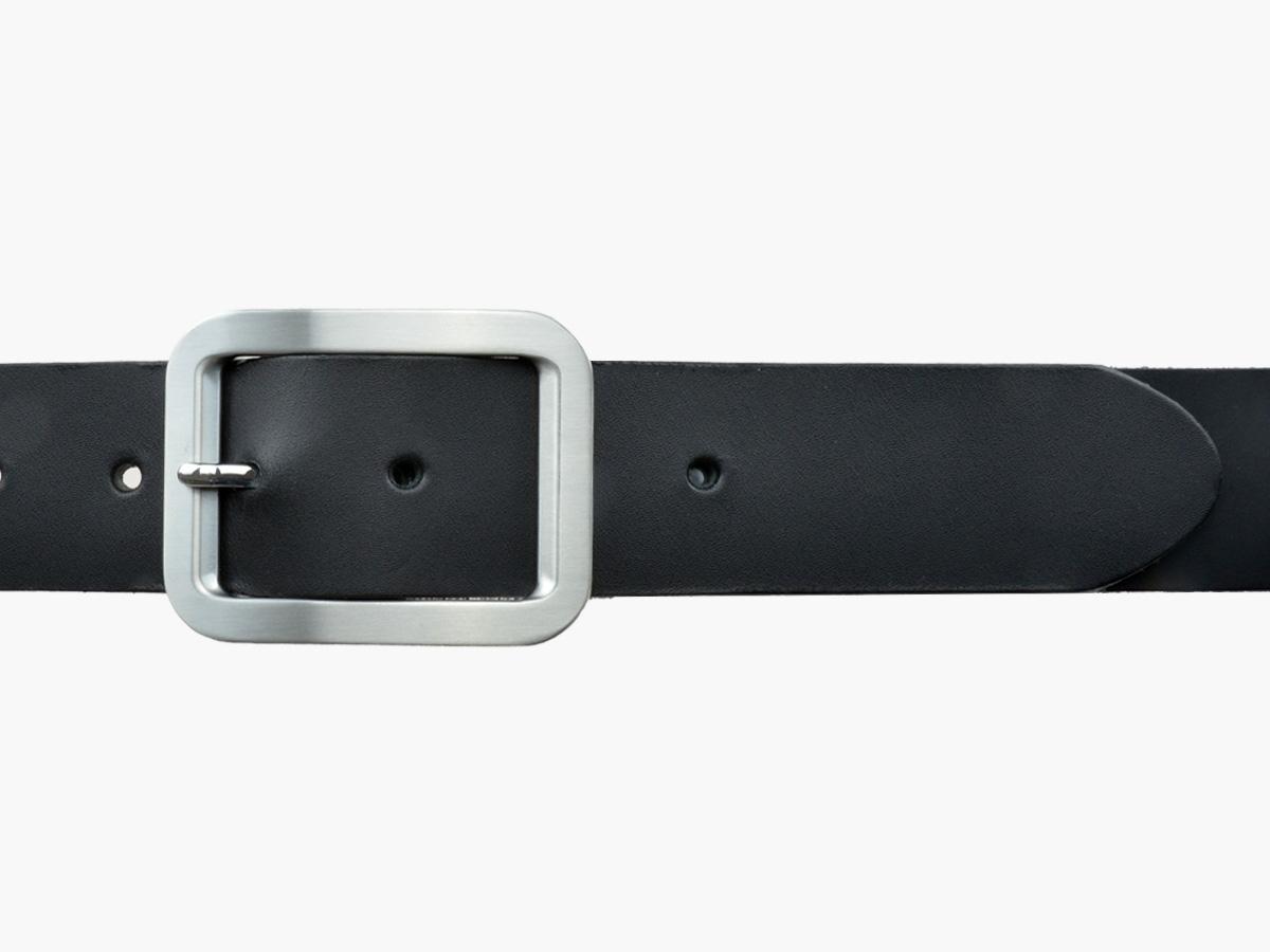 BULLJEANS N°18   Ceinturon cuir couleur noir boucle rectangle brossée 3