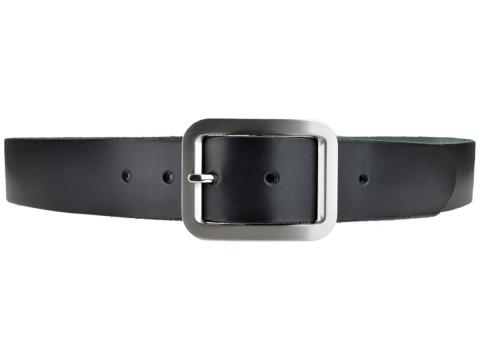 BULLJEANS N°18   Ceinturon cuir couleur noir boucle rectangle brossée 4