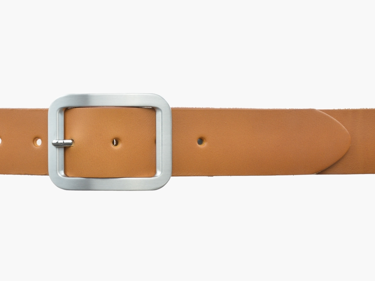 BULLJEANS N°18 | Ceinturon cuir couleur camel boucle rectangle brossée
