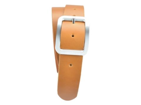 BULLJEANS N°18 | Ceinturon cuir couleur camel boucle rectangle brossée 4