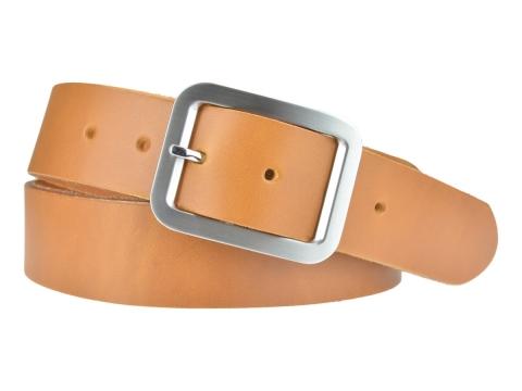 BULLJEANS N°18 | Ceinturon cuir couleur camel boucle rectangle brossée 5