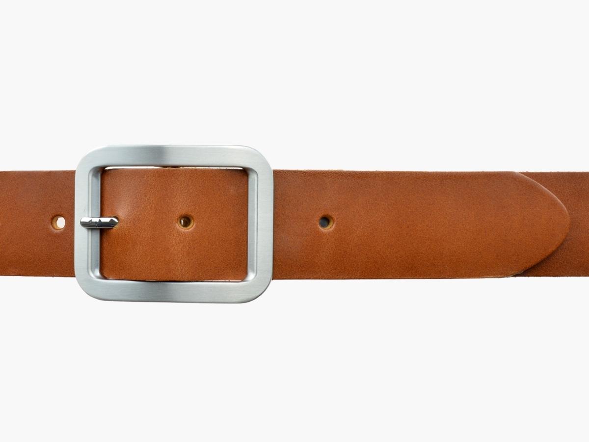 BULLJEANS N°18 | Ceinturon cuir couleur cognac boucle rectangle brossée