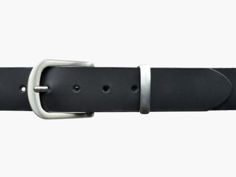 BULLJEANS N°21 | Ceinturon homme cuir couleur noir boucle polyvalente métal brossé 4