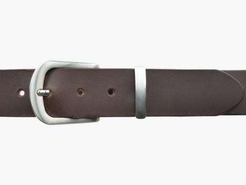 BULLJEANS N°21 | Ceinturon homme cuir couleur marron boucle polyvalente métal brossé 2
