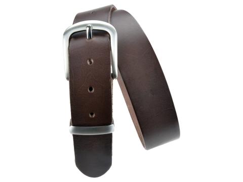 BULLJEANS N°21 | Ceinturon homme cuir couleur marron boucle polyvalente métal brossé 5