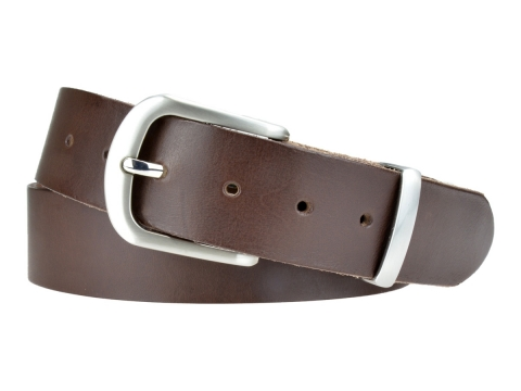 BULLJEANS N°21 | Ceinturon homme cuir couleur marron boucle polyvalente métal brossé 6