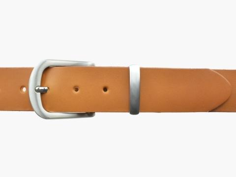 BULLJEANS N°21 | Ceinturon homme cuir couleur camel boucle polyvalente métal brossé 2