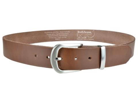 BULLJEANS N°21 | Ceinturon homme cuir couleur chataigne boucle polyvalente métal brossé