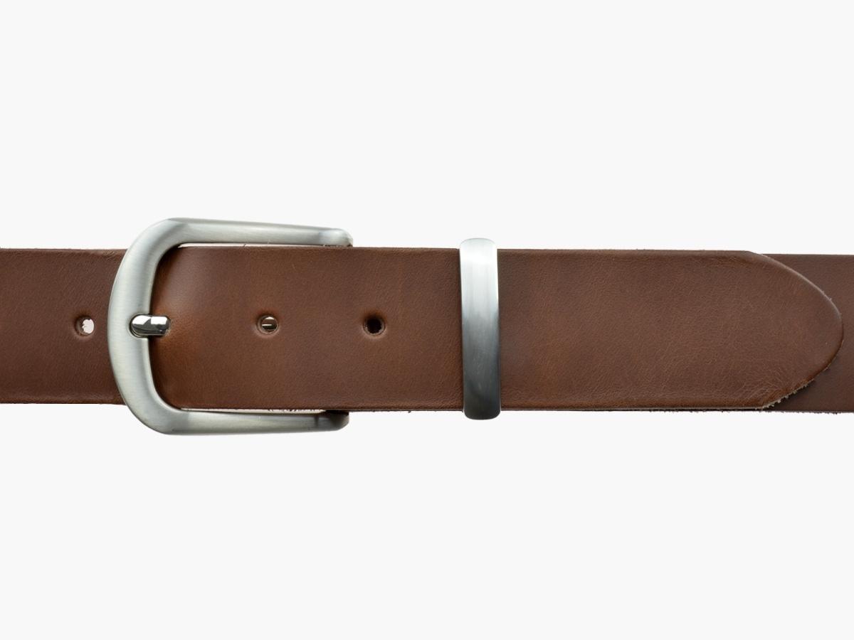 BULLJEANS N°21 | Ceinturon homme cuir couleur chataigne boucle polyvalente métal brossé 2