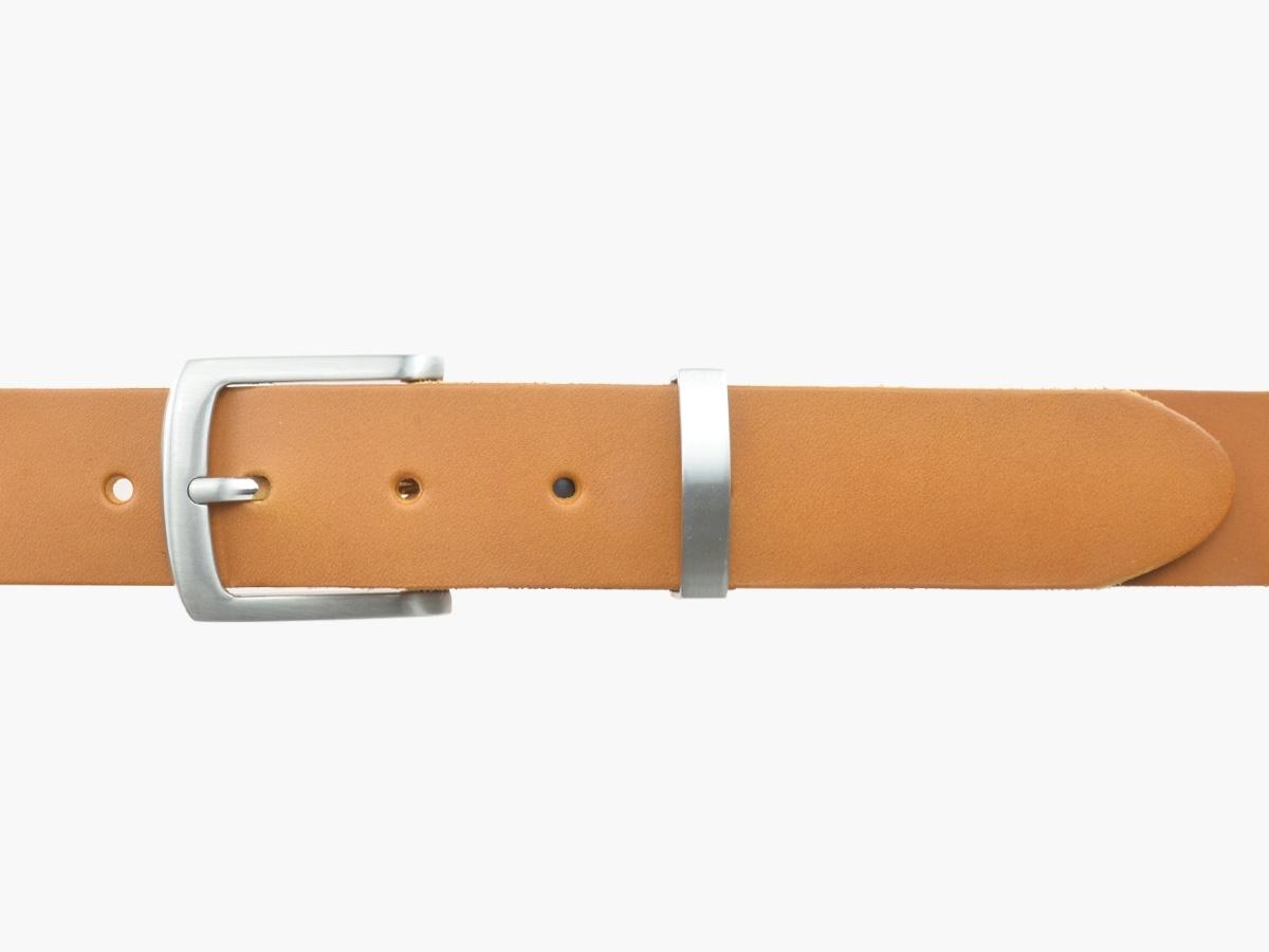 BULLJEANS35 N°1 | Ceinture cuir couleur camel boucle fine polyvalente carrée brossée