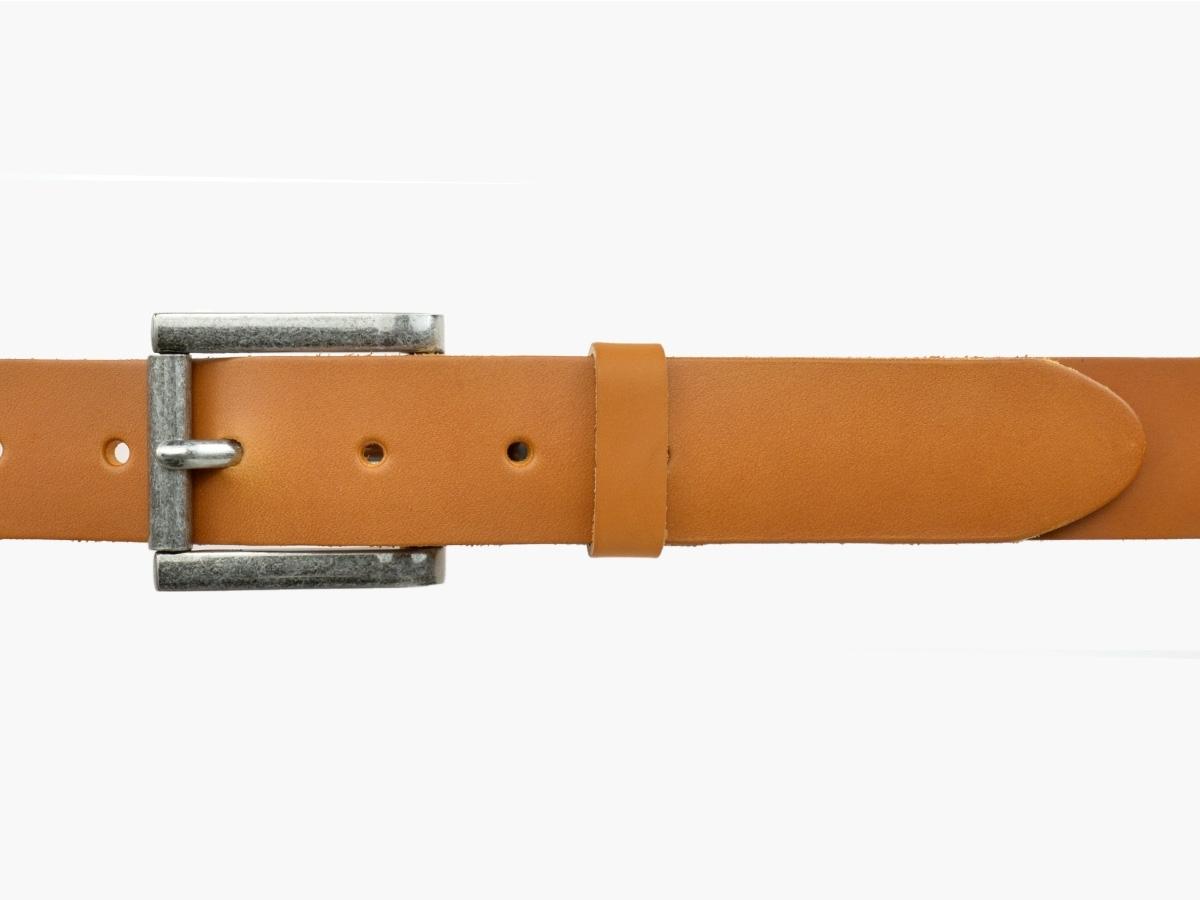 ceinture en cuir marron bulljeans round nickel