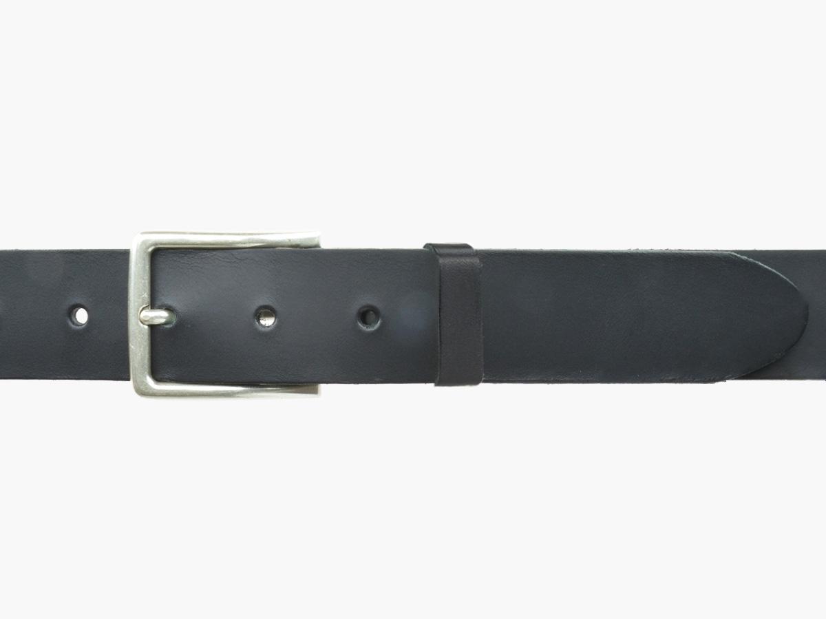 BULLJEANS35 N°4 | Ceinture cuir noir polyvalent boucle fine argent 4