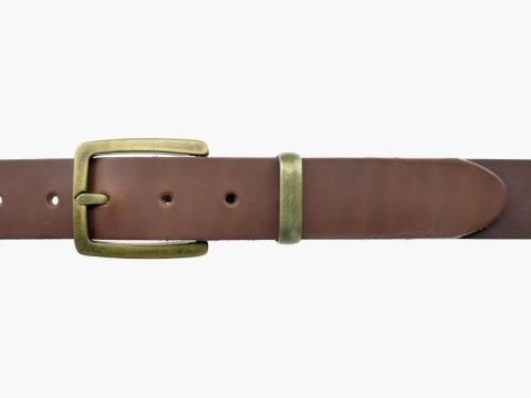 BULLJEANS35 N°5 | Ceinture cuir couleur châtaigne boucle rectangulaire finition laiton 2